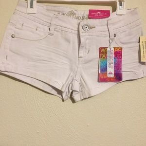 Almost Famous White Sparkle Shorty Shorts 3 NWT
